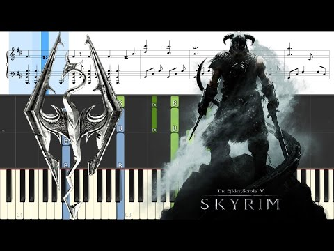 Skyrim Theme on Grand Piano (Dragonborn) [Animated Roll and Sheet Music]