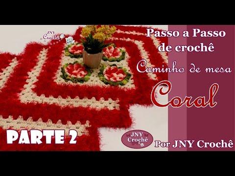 Caminho de mesa de crochê | Coral #2 - JNY Crochê