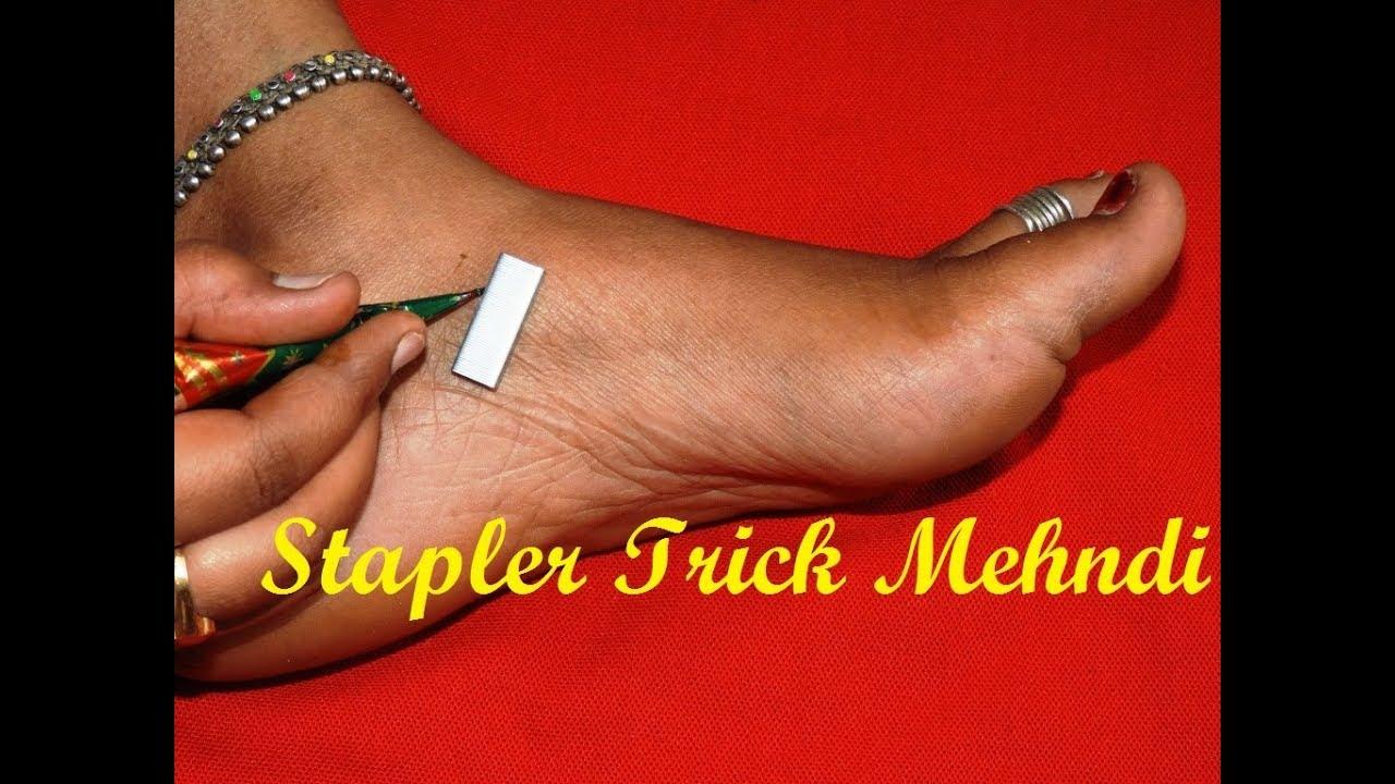 Diy New Latest Feet Mehndi Design With Stapler Simple Henna Feet