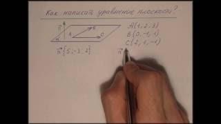 Репетитор по математике пишет уравнение плоскости по трем точкам