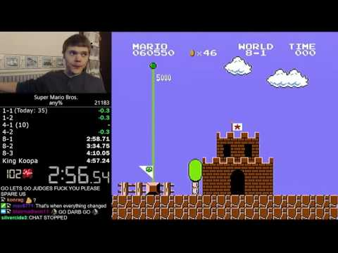 Thumbnail: (4:56.878) Super Mario Bros. any% speedrun *World Record*