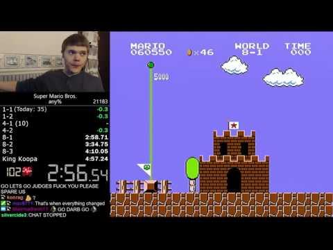 (4:56.878) Super Mario Bros. any% speedrun *Former World Record*