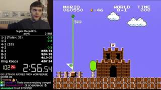 (4:56.878) Super Mario Bros. any% speedrun *World Record*