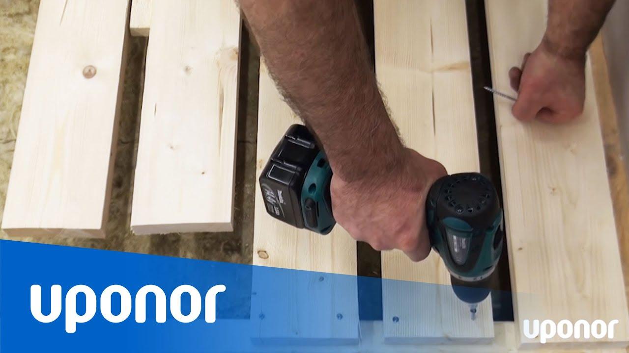 Instruktionsfilm: Golvvärme tvärs ett öppet träbjälklag med ... : lägga golv själv : Inredning