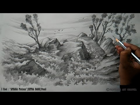 Drawing and Shading a Low land landscape with Pencil | Pencil Sketch | Basic Pencil Art
