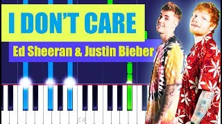 Ed Sheeran, Justin Bieber - I Don't Care Piano Tutorial EASY