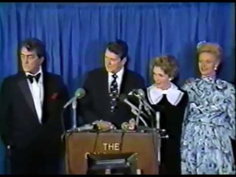 Dean Martin cracks up Nancy Reagan and others answering reporter's question on campaign fundraising.