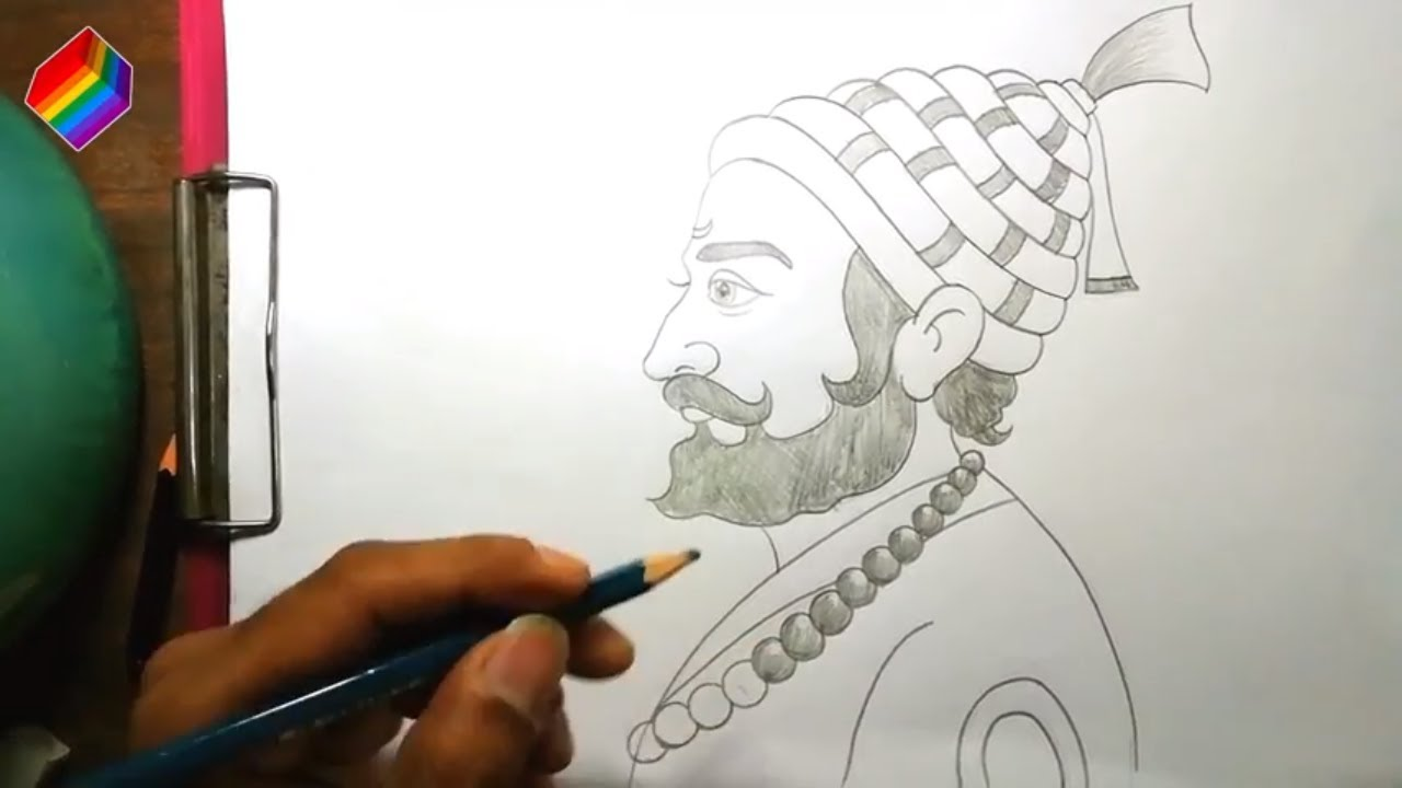 How to draw chhatrapati shivaji maharaj pencil sketch drawing pages easily