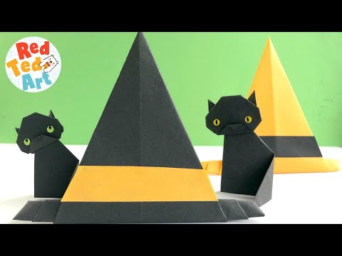 Easy Witch Hat Origami - Paper Projects for Halloween - Paper Room Decor