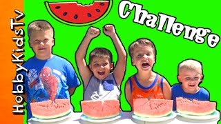 WATERMELON Eating CHALLENGE + Prank! Surprise Toys HobbyKidsTV