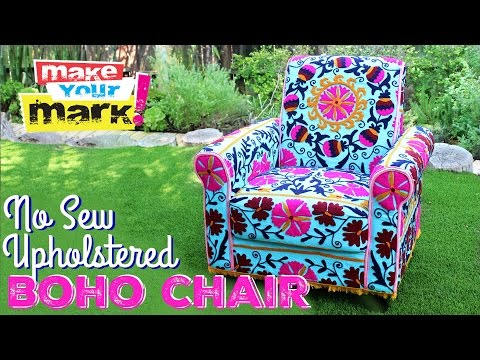 How to: No Sew Upholstered Boho Chair