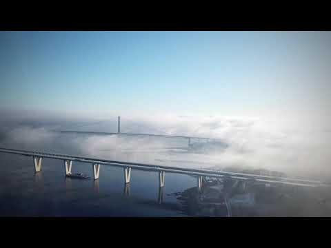Morning Fog Above Queesferry Crossing. Music Carl Orff - O Fortuna