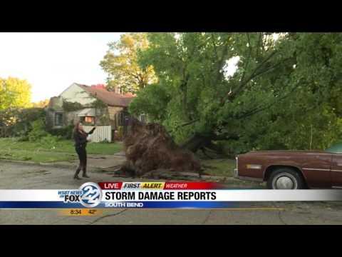 Tornado Damage Live Shot
