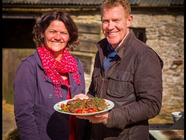 Genevieve Taylor and Adam Henson - Lamb Leg Steaks with caramelised onions, butterbeans & gremolata