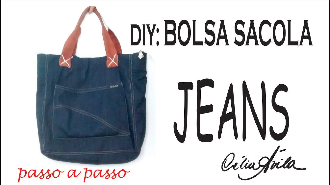 Bolsa De Tecido E Jeans : Diy bolsa sacola jeans com c?lia ?vila