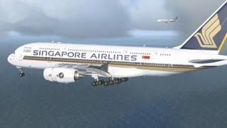 Singapore Airlines A380 & B747 Changi Airport landing [FSX HD]