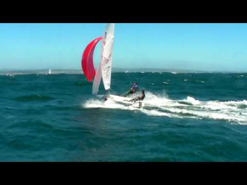 420 sailing reach with spinnaker 35+ knots