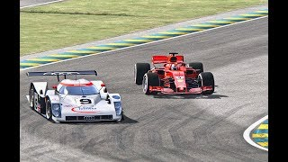 Ferrari F1 2018 vs Audi R8C LMP 1999 - Le Mans 24 Hours Circuit