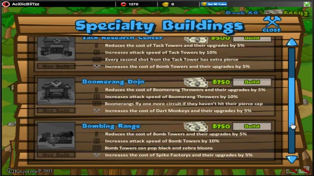 Bloons Tower Defense 5 - BTD5 - NEW! Specialty Buildings   Dart Training  Facility All Upgrades
