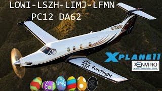 [X-Plane 11] LOWI-LSZH-LIMJ-LFMN | PC12 DA62 | Easter Eggs and GA