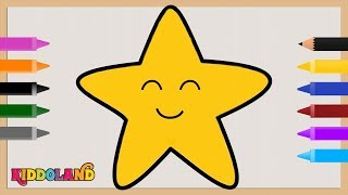 How to Draw and Color Smiling Star | Kids Drawing and Coloring