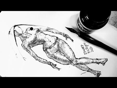 Как нарисовать человека. Фигура. Перо и тушь. Графика, рисование  и скетчинг. Эдуард Кичигин