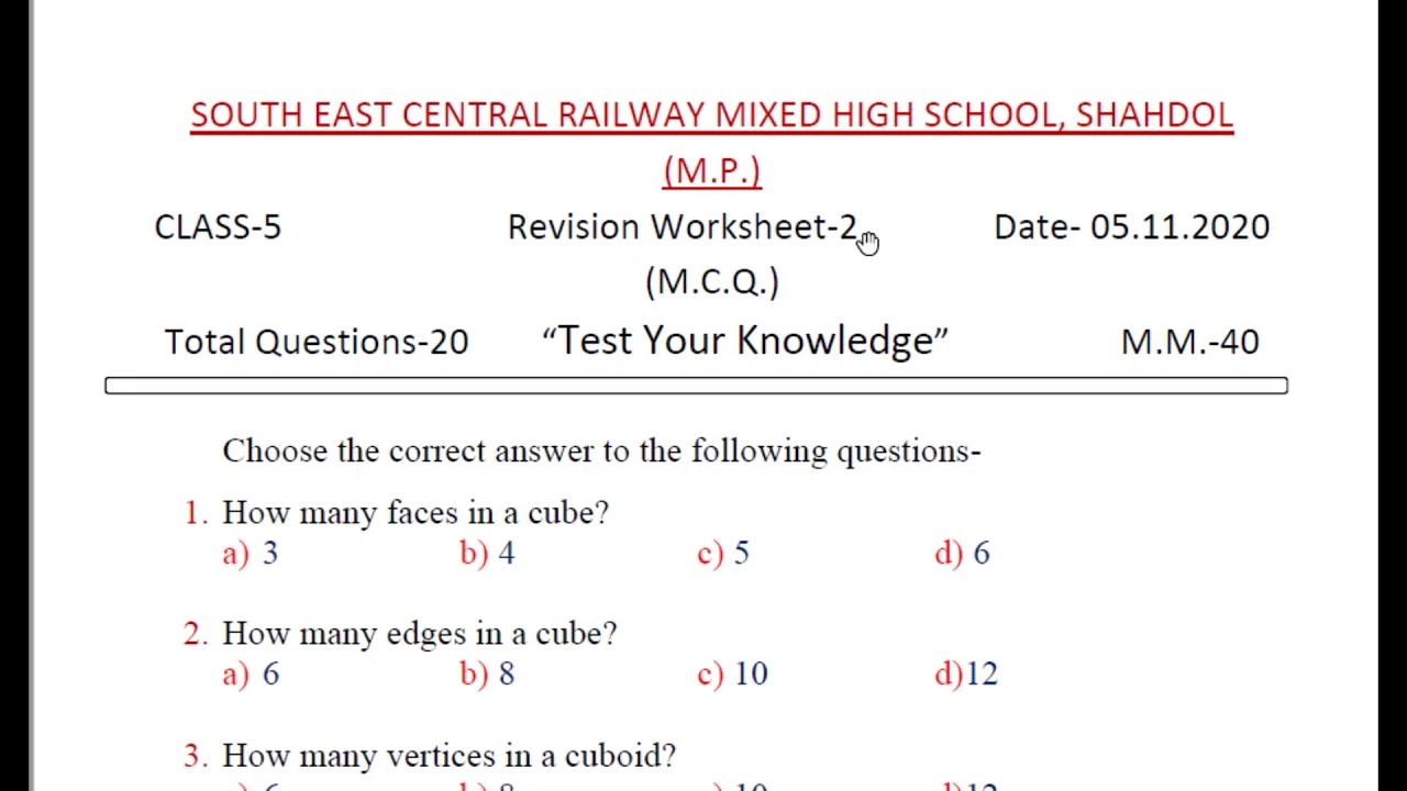 Ncert Class 5 Maths Chapter 9 Boxes And Sketches Revision Worksheet 2 Test Your Knowledge Cbse Kv Youtube