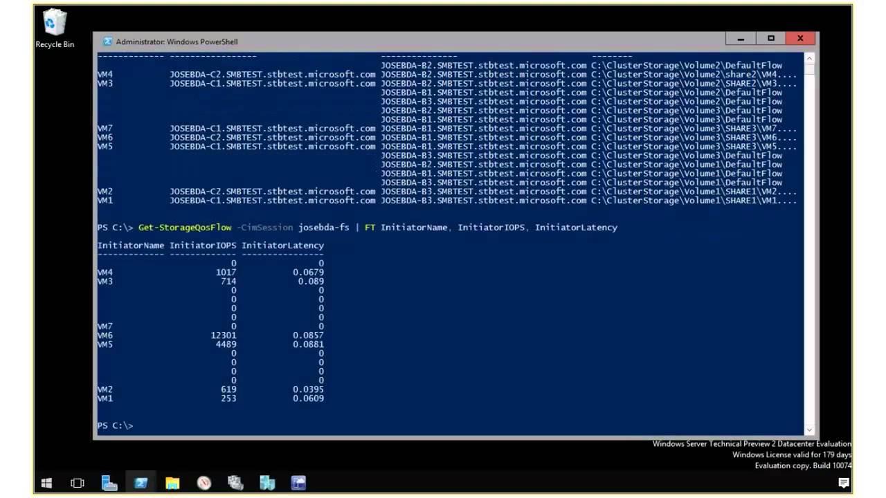 Windows Server 2016 TP2 Storage QoS demo: PowerShell Monitoring