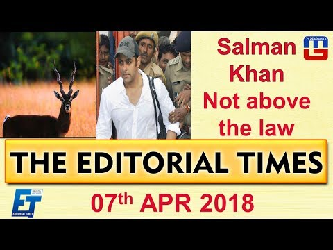 Salman Khan Not Above The Law | The Hindu | The Editorial Times | 07 April 2018 | SSC | Bank | 8 am