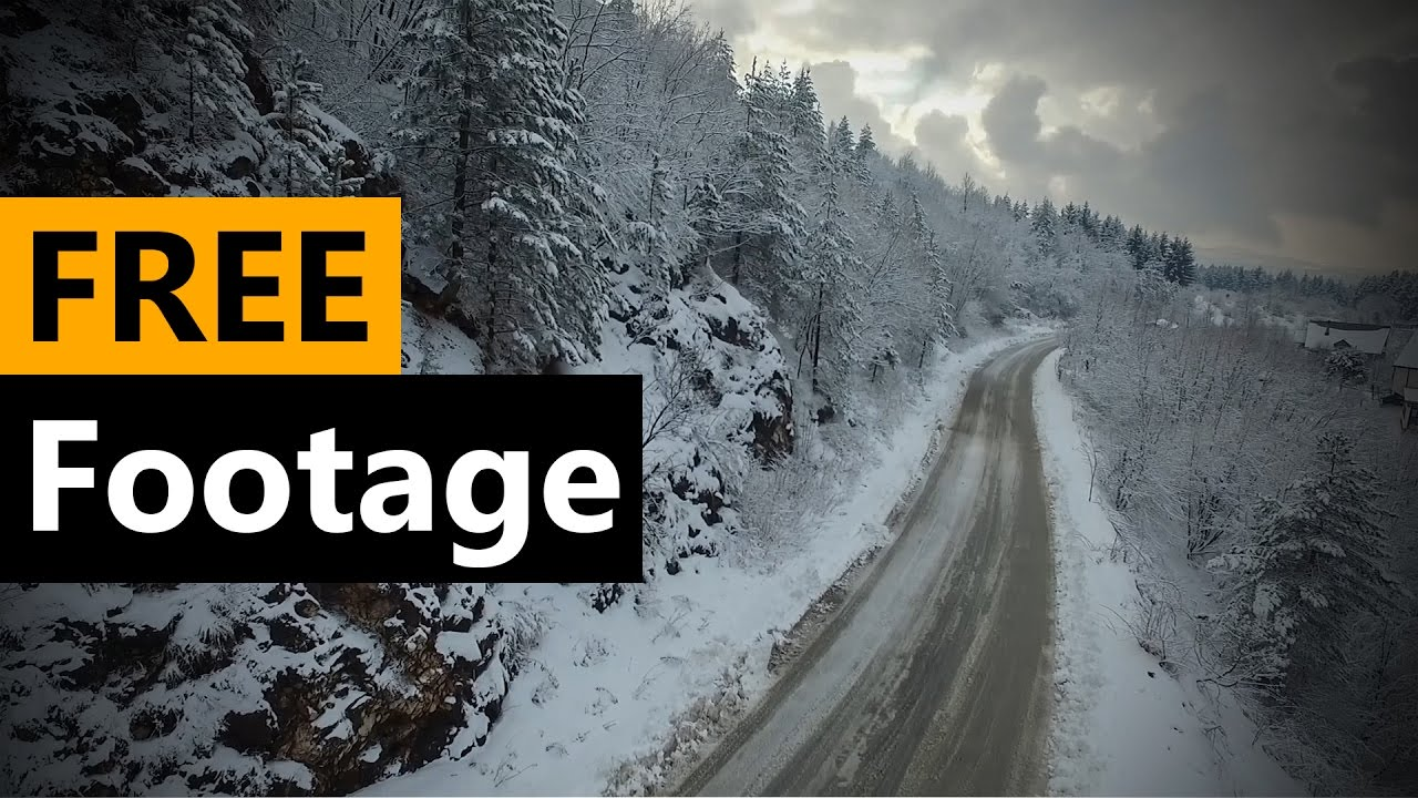 Snow mountain road - free Drone Footage - FREE Stock Video Footage [Download Full HD]