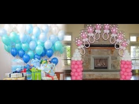 Decoraci n con globos para baby shower youtube for Decoracion para pared de baby shower