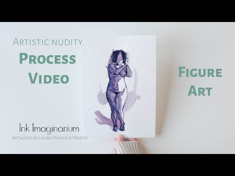 Figure art, female nude drawing by Ink Imaginarium. Time lapse painting.