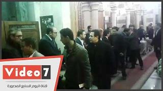 طارق علام و طاهر  أبو زيد  وخيرى رمضان فى عزاء والدة محمد علي خير