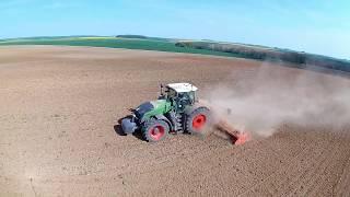 [DJI & PNJ] FENDT 1050 et herse rotative Kuhn HR8040R à la préparation des terres