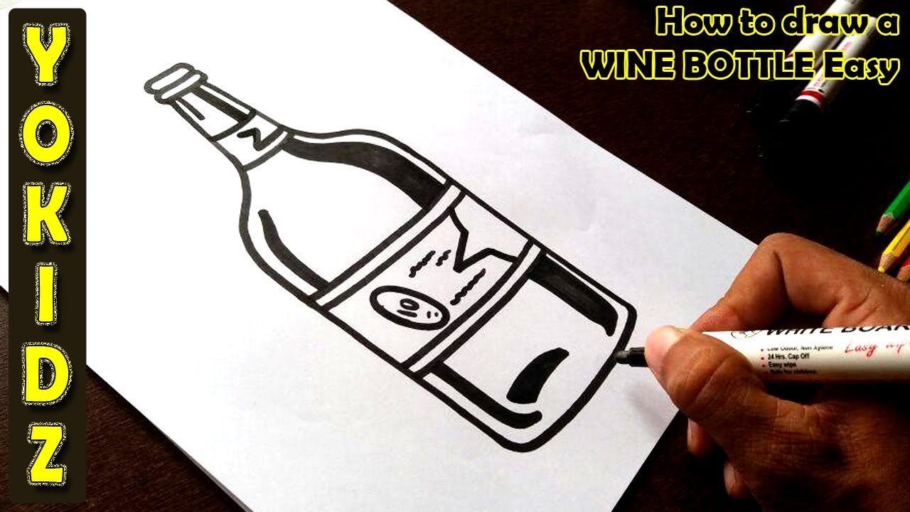 How To Draw A Wine Bottle Easy Youtube