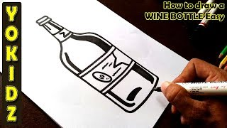 How to draw a WINE BOTTLE easy
