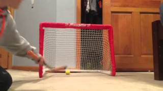 new mini hockey shots with the ccm ultra tacks fiber glass stick