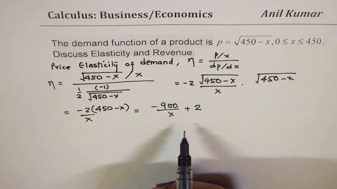 Demand Supply Function Elasticity And Revenue Calculus Application