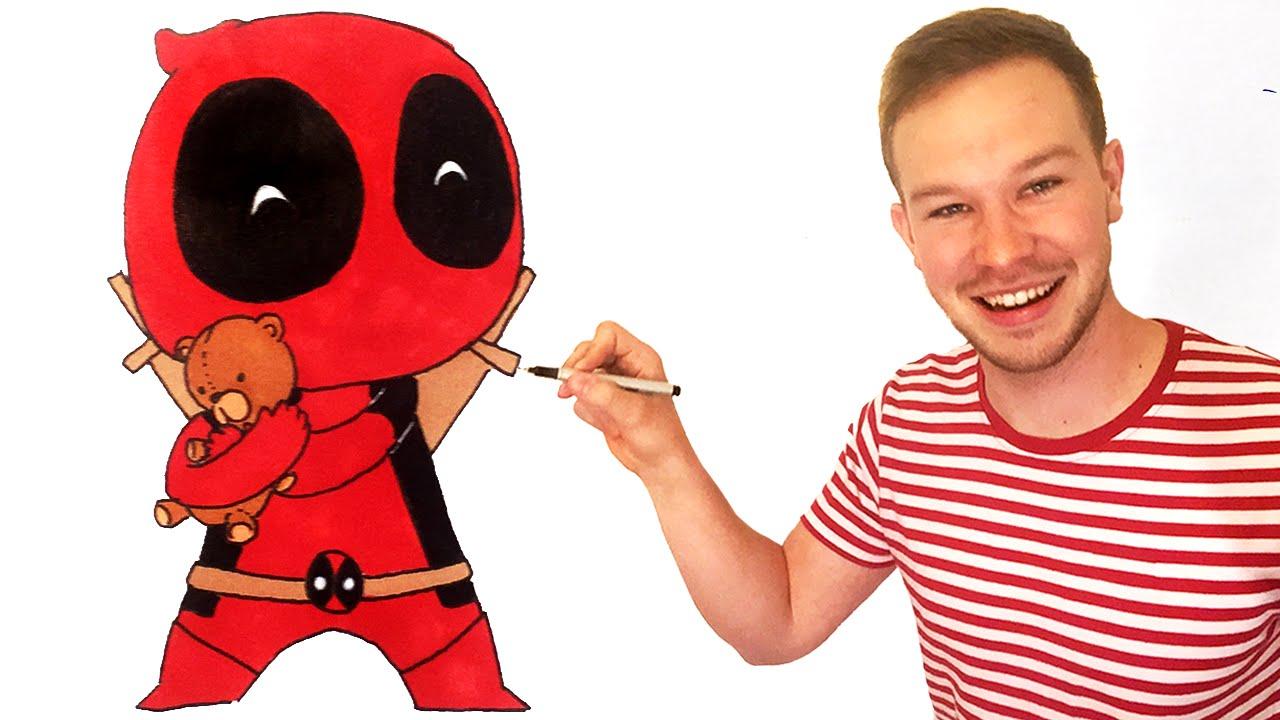 How To Draw Deadpool Chibi Step By Step   YouTube