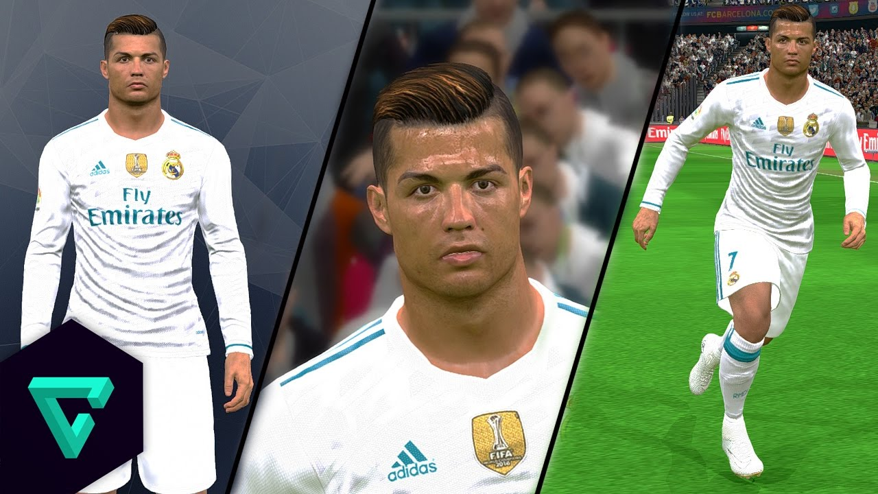 نتيجة بحث الصور عن ‪PES 2017 PC | New Face & Hair Cristiano Ronaldo 17/18 + Instalacion | Full HD‬‏