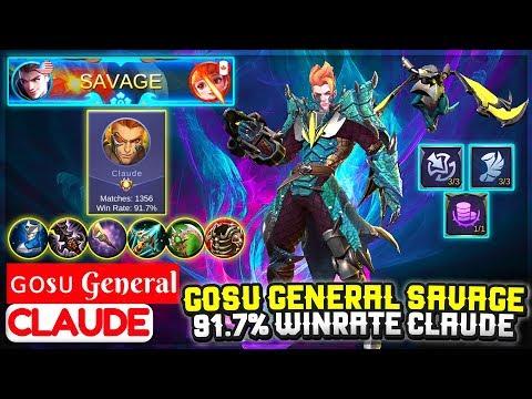Gosu General Savage, 91.7% Winrate Claude [ ɢᴏsᴜ General Claude ] Mobile Legends