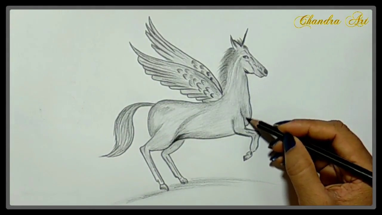 Cool easy drawings pencil drawing a beautiful unicorn with wings
