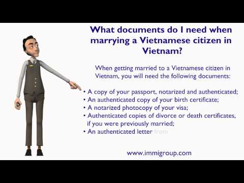 What documents do I need when marrying a Vietnamese citizen in Vietnam?
