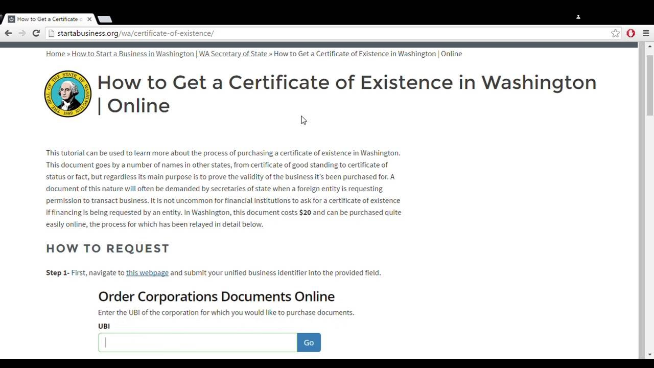 How To Get A Certificate Of Existence In Washington Online Youtube