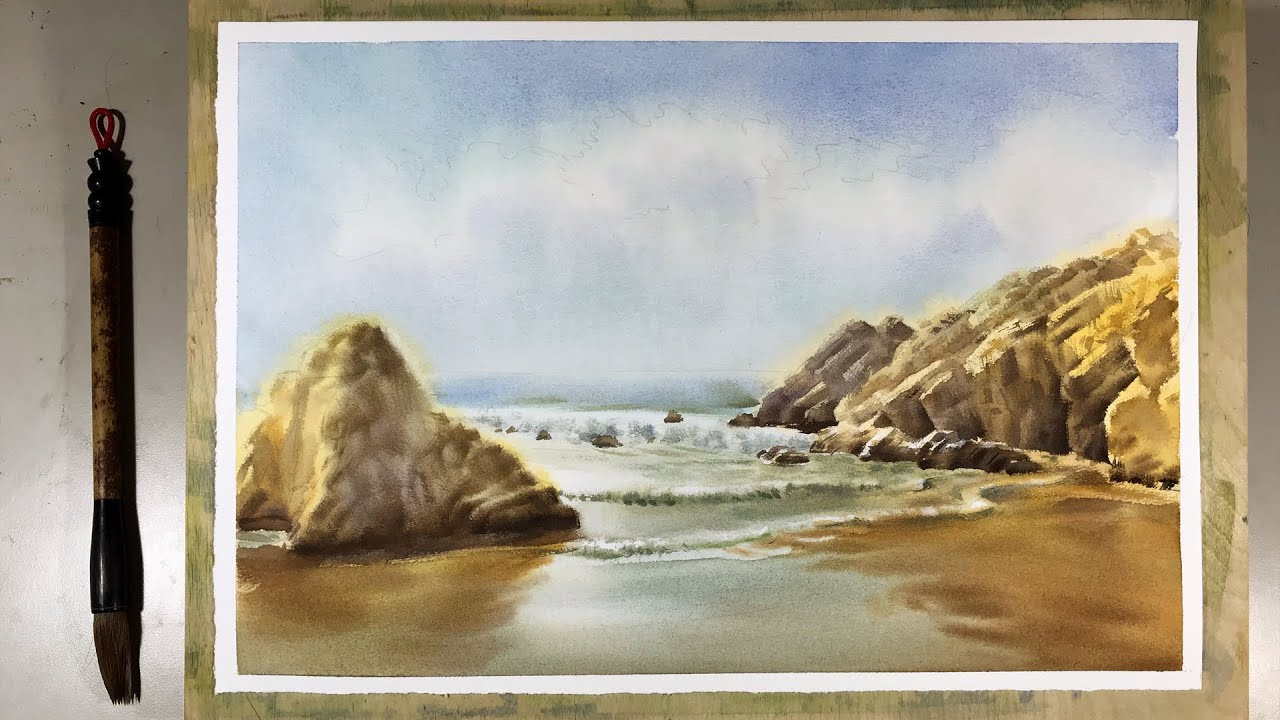 Paint the Beach scene with Watercolor