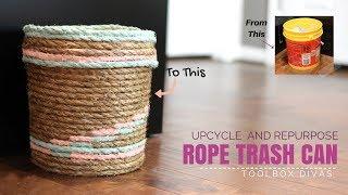DIY Rope Trash Can Using a Bucket