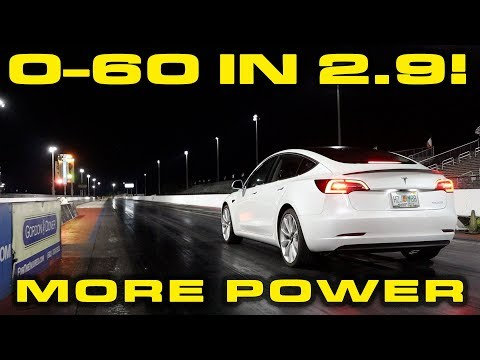 Tesla Model 3 & Model S Power Increase Testing * Model 3 hits 60 MPH in 2.9 Seconds!