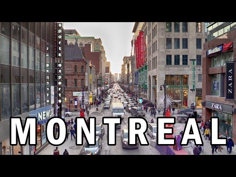Walking Tour Downtown Montreal Ste. Catherine Street  Montreal, Quebec, Canada