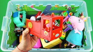 Learn characters, colors, vehicles with Peppa Pig, Ben and Holly, Paw Patrol - Toys in box for kids