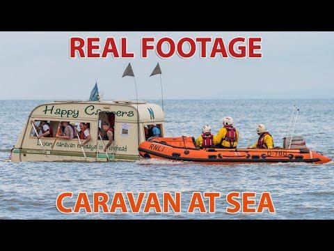 RNLI Raft Race 2017   Floating Caravan At Minehead Harbour Fest